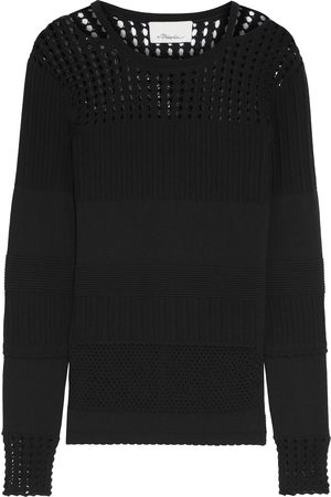 3.1 Phillip Lim Women Tops - Woman Cutout Ribbed And Pointelle-knit Cotton-blend Top Size L