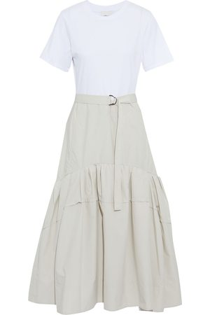 3.1 Phillip Lim Women Casual Dresses - Woman Belted Cotton-jersey And Gathered Poplin Midi Dress Cream Size 0
