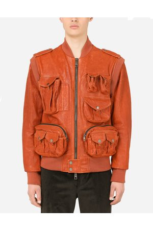 Dolce & Gabbana Men Leather Jackets - Collection - Leather jacket with multiple pockets male 44
