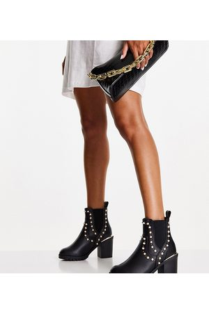 Miss KG Wide fit harmony pearl detail heeled boots in