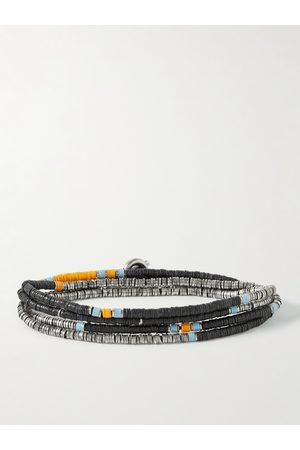 M. COHEN Men Bracelets - Silver and Vinyl Beaded Wrap Bracelet