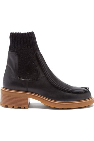 Chloé Jamie Knitted-cuff Leather Ankle Boots - Womens
