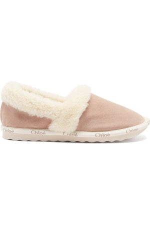 Chloé Woody Shearling-lined Suede Slippers - Womens