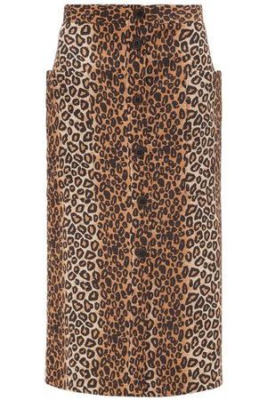 Raey Leopard-print Button-through A-line Midi Skirt - Womens - Leopard