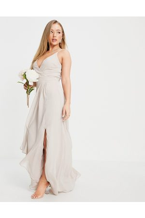 TFNC Bridesmaid cami wrap maxi dress with fishtail in