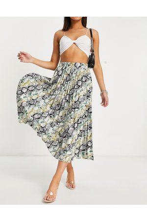 ASOS Satin pleated midi skirt in snake print-Multi