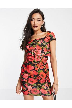 ASOS Women Printed Dresses - Short sleeve belted seamed mini dress in dark floral print-Multi