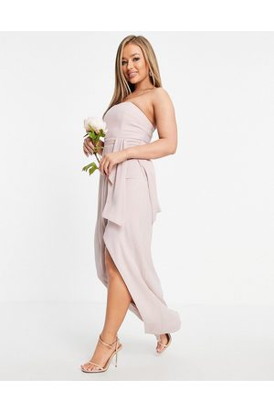 TFNC Women Strapless Dresses - Bridesmaid bandeau wrap midaxi dress with pleated detail in mink