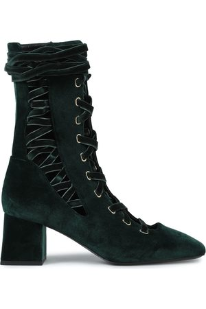 ZIMMERMANN Women Lace-up Boots - Woman Lace-up Velvet Ankle Boots Emerald Size 37