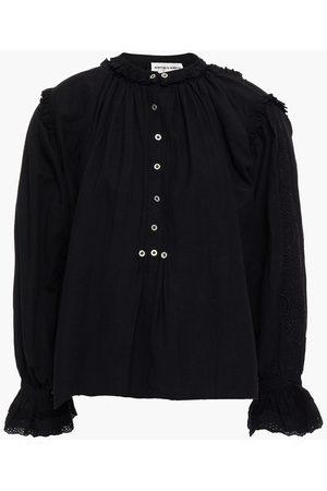 Antik Batik Women Blouses - Woman Peter Ruffle-trimmed Embroidered Cotton-broadcloth Blouse Size 36
