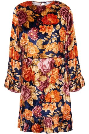 Antik Batik Woman Camino Floral-print Velvet Mini Dress Navy Size 36