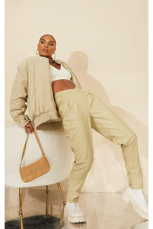 PRETTYLITTLETHING Pale Olive Faux Leather V Front Tailored Trousers