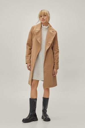 NASTY GAL Womens Oversized Collar Belted Coat