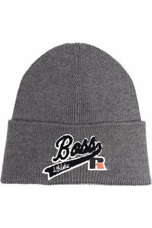 HUGO BOSS Men Beanies - Logo-patch wool-blend beanie