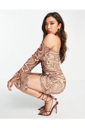 Missyempire X Tennessee Thresher exclusive mesh long sleeve mini dress in swirl print-Multi