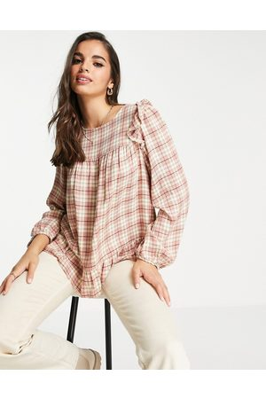 New Look Frill sleeve smock blouse in check