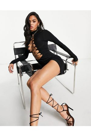 Missyempire Exclusive long sleeve lace up front detail slinky dress in