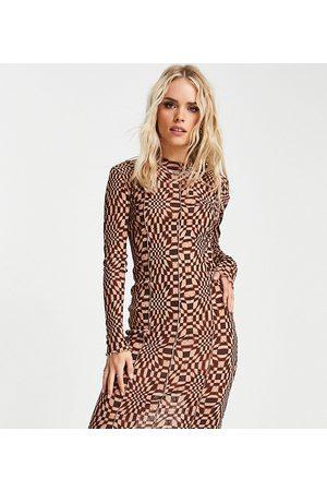 Topshop Petite checkerboard mesh jersey midi dress with seams in Multi