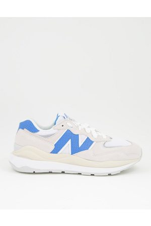 New Balance 54/70 suede trainers in off and blue