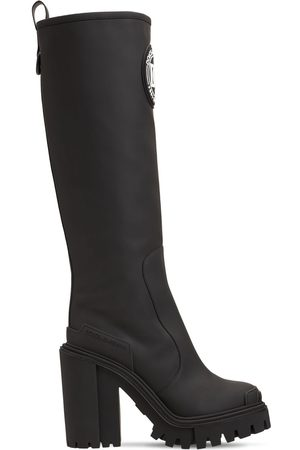 Dolce & Gabbana 90mm Rubberized Faux Leather Tall Boots