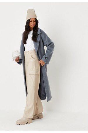 Missguided Women Wide Leg Trousers - Cream Faux Leather Wide Leg Cargo Trousers, Cream
