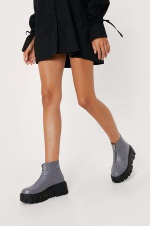 NASTY GAL Women Ankle Boots - Womens Zip Front Chunky Cleated Sole Boots