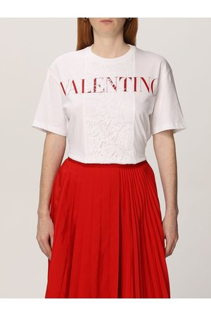 VALENTINO Cotton Tshirt with logo and lace
