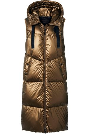 Heyer Long quilted gilet a hood size: 10
