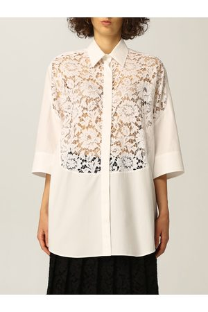VALENTINO Shirt in cotton poplin and lace