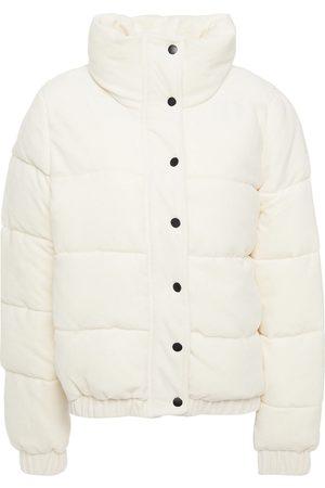 DKNY Women Jackets - Woman Quilted Cotton-blend Velvet Jacket Ivory Size L