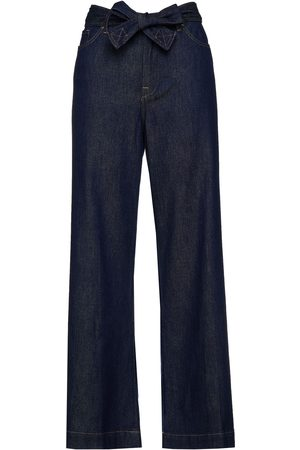 7 for all Mankind Women Bootcut - Woman Belted High-rise Wide-leg Jeans Dark Denim Size 23