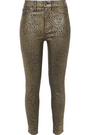 7 for all Mankind Women Skinny - Woman Metallic Leopard-print Mid-rise Skinny Jeans Animal Print Size 24