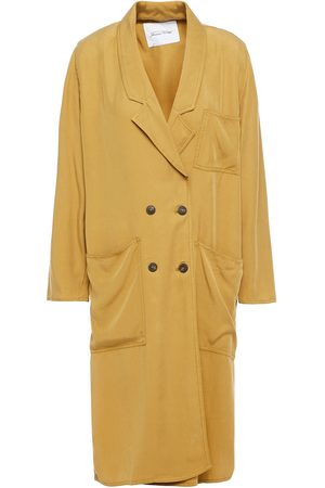 American Vintage Women Coats - Woman Nalastate Double-breasted Lyocell-twill Coat Sage Size M/L