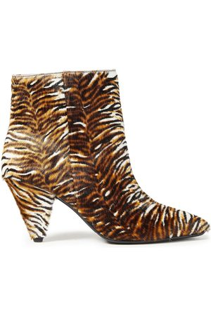 Samsøe Samsøe Samsøe Φ Samsøe Woman Tiger-print Calf Hair Ankle Boots Animal Print Size 36
