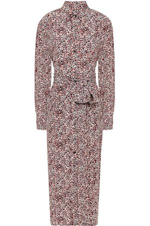 Equipment Women Printed Dresses - Woman Jarvisse Belted Leopard-print Washed-silk Midi Dress Size L