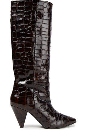 Samsøe Samsøe Women High Leg Boots - Samsøe Φ Samsøe Woman Croc-effect Leather Knee Boots Chocolate Size 36