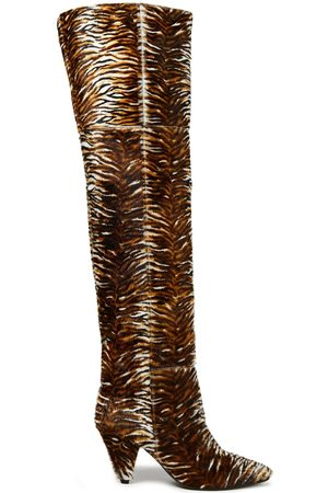 Samsøe Samsøe Samsøe Φ Samsøe Woman Tiger-print Calf Hair Over-the-knee Boots Animal Print Size 37