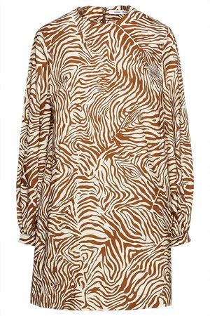 Samsøe Samsøe Samsøe Φ Samsøe Woman Gathered Printed Cotton-blend Poplin Mini Dress Animal Print Size L