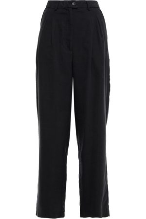 American Vintage Women Trousers - Woman Nala Pleated Lyocell-twill Tapered Pants Charcoal Size L