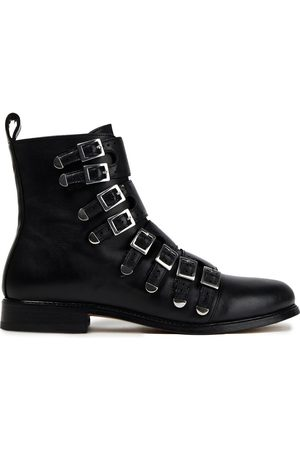 Maje Women Ankle Boots - Woman Buckle-detailed Leather Ankle Boots Size 36
