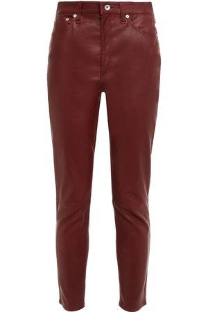 RAG&BONE Women Leather Trousers - Woman Leather Slim-leg Pants Size 23