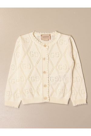 Gucci Cardigans - Crewneck cardigan with perforated GG logo