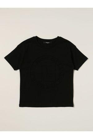 Balmain Girls Short Sleeve - Cotton tshirt with logo