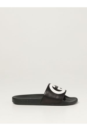 Gucci Boys Sandals - Slide sandals in leather with logo