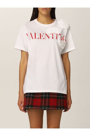 VALENTINO Cotton Tshirt with logo and roses
