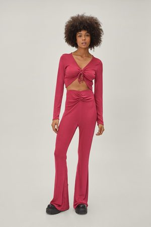 NASTY GAL Women Wide Leg Trousers - Womens Key Hole Ruched Top And Ruched Flare Set