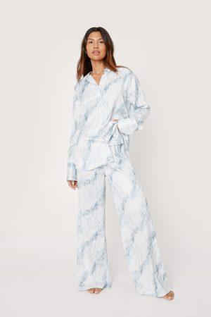 NASTY GAL Women Pyjamas - Womens Recycled Satin Marble Oversized Pyjama Set