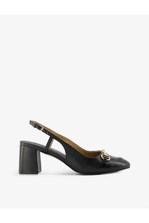 Dune Cassie snaffle-trim leather slingback heels