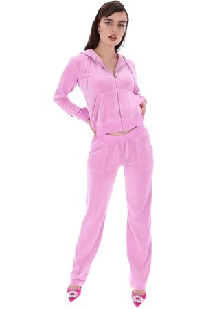 Juicy Couture Women Sports Trousers - Del Ray Classic Velour Pocketed Bottoms - Orchid
