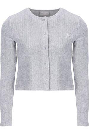 Juicy Couture Luna Rib Velour Cardigan - Silver Marl